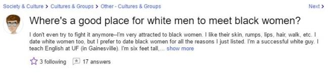 black women looking for white men question