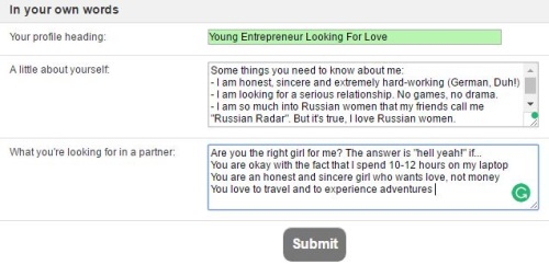 about yourself on russian cupid