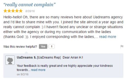 positive forum entry about uadreams