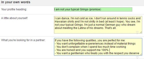 in your own words on latinamericancupid.com
