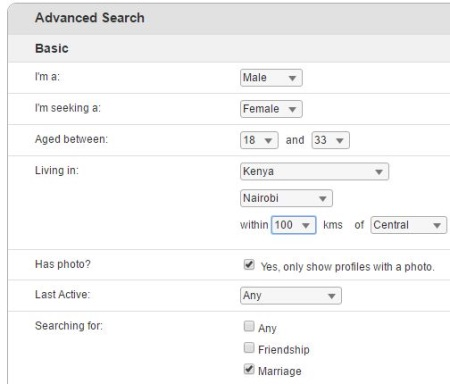 kenyancupid.com advanced search function