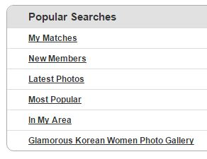 Popular Searches on Korean Cupid