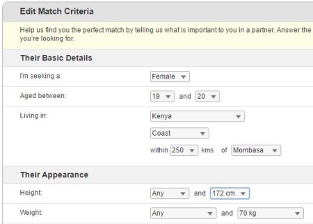 edit match criteria on Kenyancupid