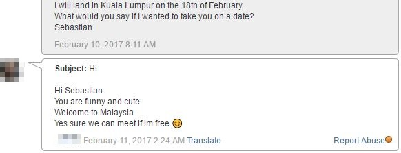 message from Chinese Malaysian girl
