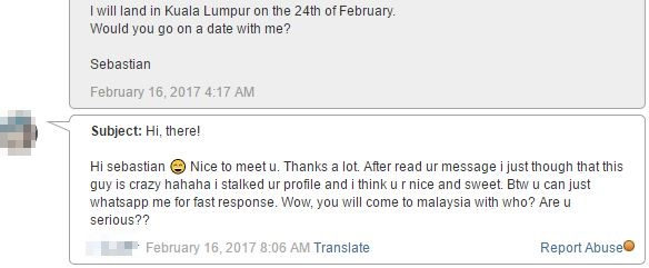 message from malaysian woman