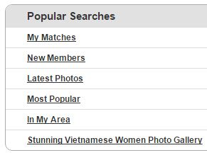 popular searches on Vietnamcupid
