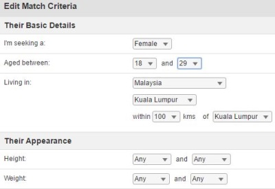 edit match criteria on malaysian cupid