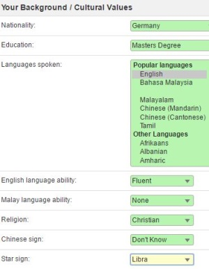 background of western man on malaysiancupid