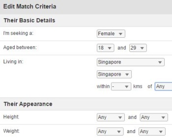 match criteria on singaporelovelinks