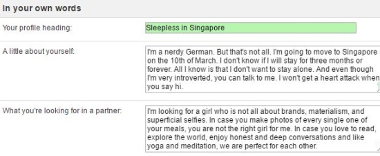 profile description on singaporelovelinks