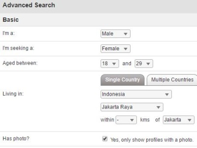 advanced search on indonesiancupid