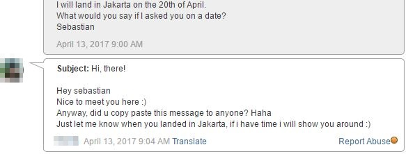 message from jakarta girl