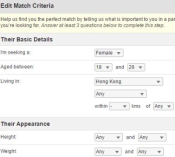 match criteria on hongkongcupid.com