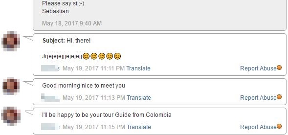 messsage from girl in bogota