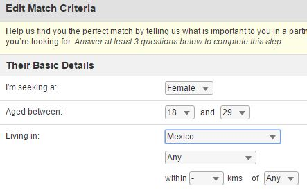 edit match criteria on mexicancupid.com