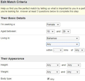 match criteria on Caribbean cupid