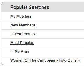 popular searches on CaribbeanCupid
