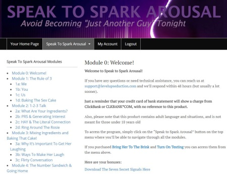 members area speak to spark arousal
