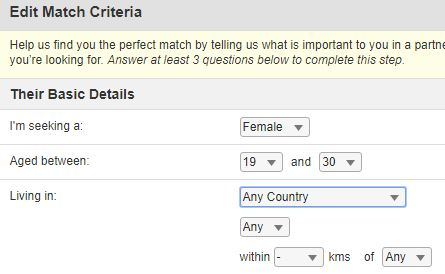 edit match criteria on muslima