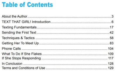 table of contents text that girl