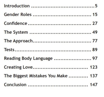 table of contents of the tao of badass