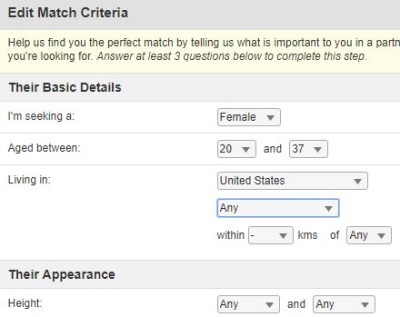 edit match criteria on military cupid
